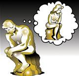 The thinker thinks of a woman thinker