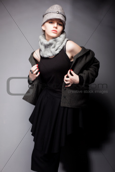 Retro. Graceful Lady in Wool Coat and Cap - Romantic Style
