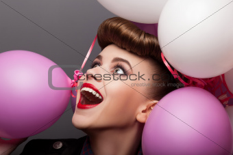Cheerful Girl with Air Balloons Having Fun - Expression