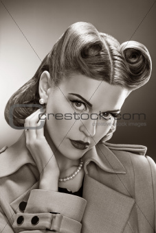 Retro Woman - Black and White Romantic Portrait