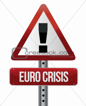 road traffic sign with a Euro crisis concept