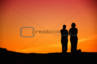 Couple sungazing