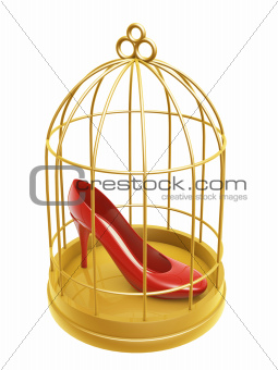 golden birdcage and shoe