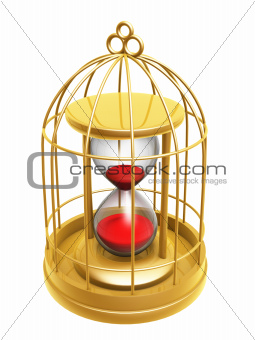 golden birdcage and hourglass