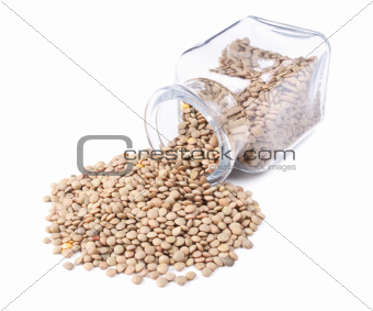 green lentils scattered on a white background