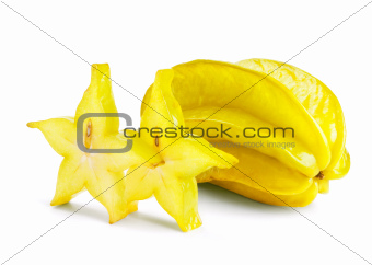 Carambola with slices isolated on white