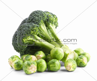 Fresh broccoli and brussels sprouts isolated on a white