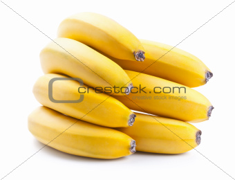 Fresh ripe bananas bunch isolated on white