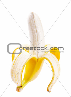 Peeled banana isolated on white