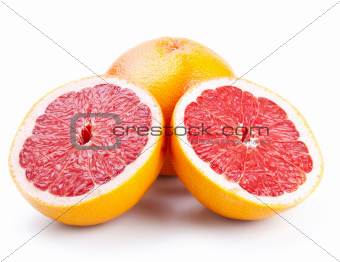 grapefruit with slices isolated on white