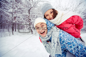 Couple in winter park
