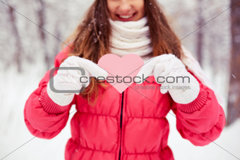 Girl with pink heart