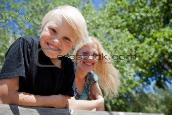 Boy and mother outdoors
