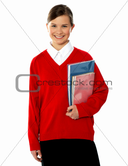 Portrait of smiling sweet school girl