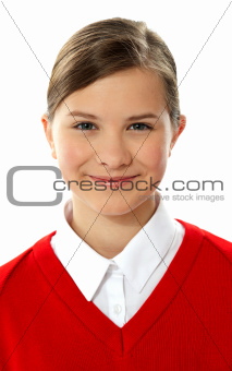Closeup of cheerful school girl