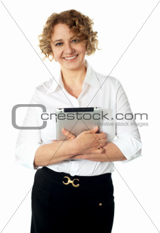 Businesswoman holding an electronic tablet