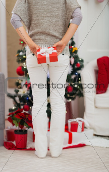 Closeup on woman holding Christmas present box behind back