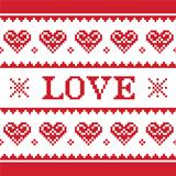 Valentines Day, love knitted pattern, card - scandynavian sweater style