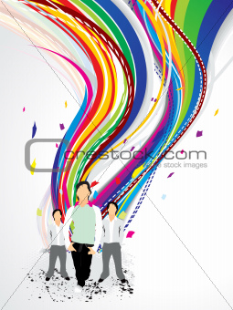 abstract colorful wave background with boy