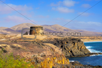 Torre del Toston castle in El Cotillo, Fuerteventura, Canary Islands, Spain