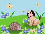 Puppy and Hedgehog