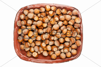 Plate of hazelnuts