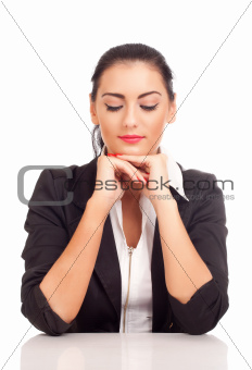 Portrait of business woman looking down