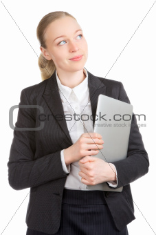 Business Woman With Laptop Dreaming