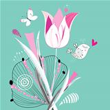 floral background with a bird and butterfly