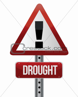 road traffic sign with a drought concept