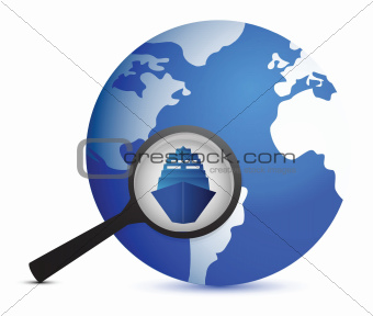 icon with ship and magnifier with planet