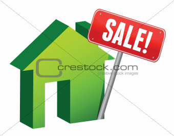 House with sale sign