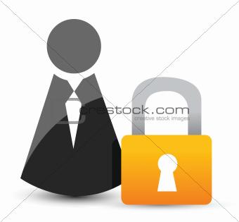 businessman icons with padlock.