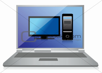laptop with pc symbol