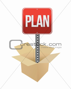 Plan road sign and box