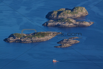 Rocky islands in norwegian sea
