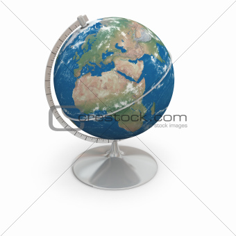 Topographic globe with clouds