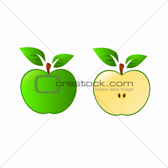 Green apple vector isolated