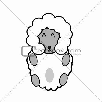 Little cartoon goat isolated