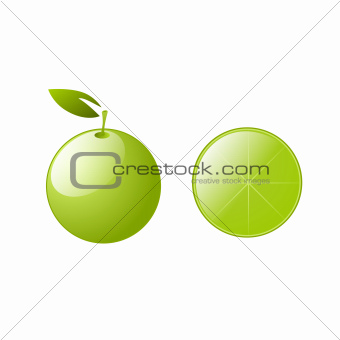Green lemons with leaves