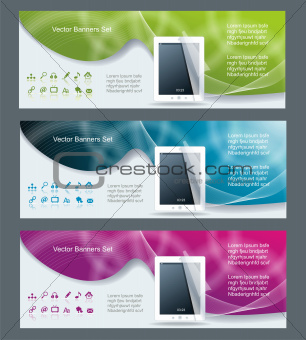 Collection banner design tablet pc computer