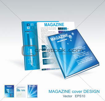 Vector blue brochure design set