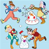cartoon set with children in winter