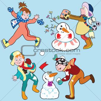 cartoon set with children in winter