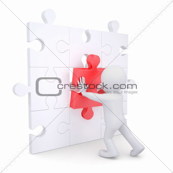 3d white man inserts red puzzle
