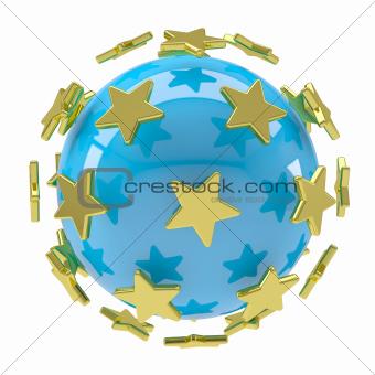 Gold stars around the blue ball