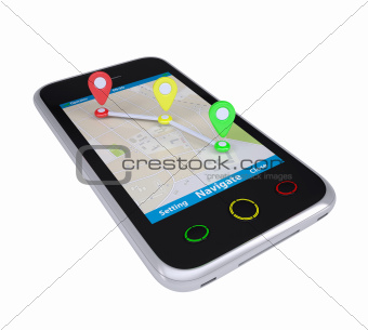 Smartphone with a map marked with the waypoints
