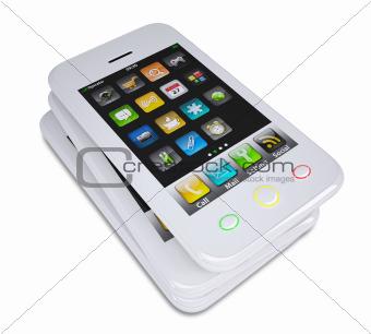 Three white smartphone