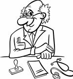 doctor in clinic black and white cartoon