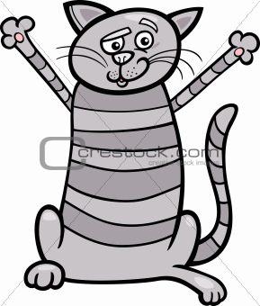 happy tabby cat cartoon illustration